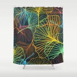 Ginkgo Biloba Leaves in Retro Rainbow Shower Curtain