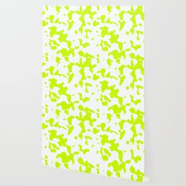 Large Spots - White and Fluorescent Yellow Wallpaper