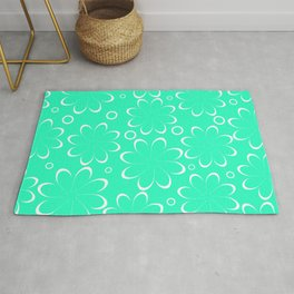 Flowers in mint Rug