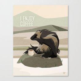Wolverine Enjoys Coffee Canvas Print