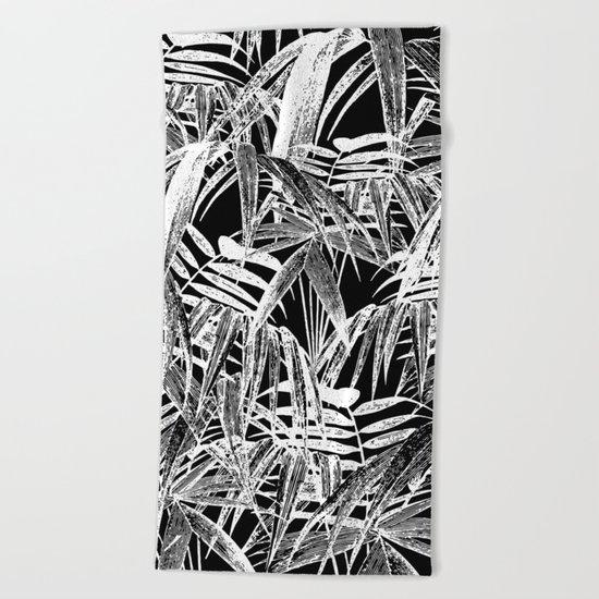 Black and White Vintage Tropical Palm Leaf Pattern Beach Towel