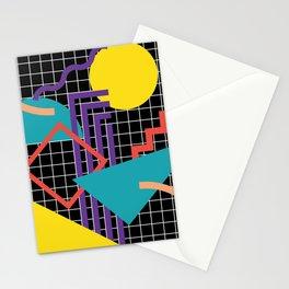 Memphis Pattern - 80s Retro Black Stationery Cards
