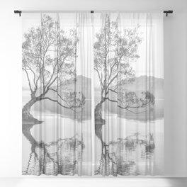 Wanaka Tree New Zealand Nature Photograph Black And White Sheer Curtain