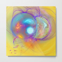 Planetary creation in yellow space Metal Print