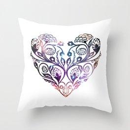 Galaxy Print Floral Heart Throw Pillow