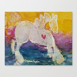 pink golden heart horse pony watercolor by CheyAnne Sexton Canvas Print