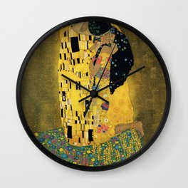 Curly version of The Kiss by Klimt Wall Clock