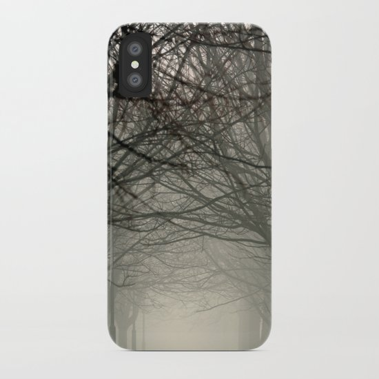 Branches meeting in the fog iPhone Case
