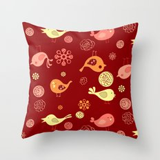 Birds on red Throw Pillow