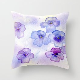 Soft Violets in Watercolor Throw Pillow