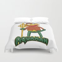 aquaman Duvet Covers featuring Scooter the Aquaman by JoshEssel