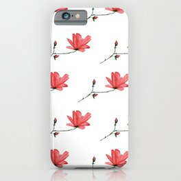 Red Magnolia in Acrylic Ink iPhone Case
