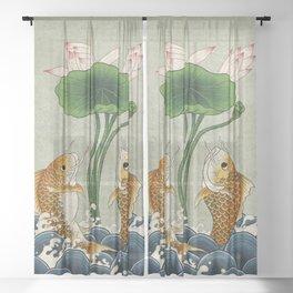 Jumping Carps and lotus A type: Minhwa-Korean traditional/folk art Sheer Curtain