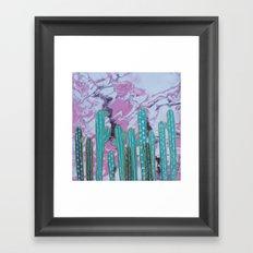 Pink Cactus with Gold Outline Framed Art Print