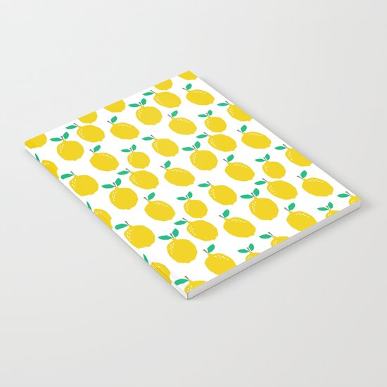 Lemons - Tropical citrus summer fresh modern pattern bright garden vegetables vegan Notebook