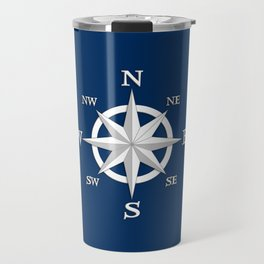 Eight Point Compass Rose, White and Navy Blue Travel Mug