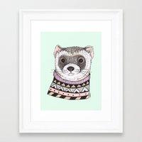 ferret Framed Art Prints featuring Hipster Ferret by Indi Maverick