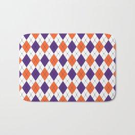 Argyle orange and purple pattern clemson football college university alumni varsity team fan Bath Mat