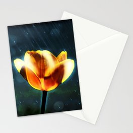 Yellow Tulip in the Rain Stationery Cards