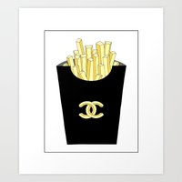 french fries Art Prints featuring French fries by flowerstyle