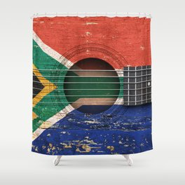 Old Vintage Acoustic Guitar with South African Flag Shower Curtain