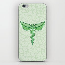 Caduceus with leaves iPhone Skin