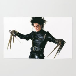 Edward Scissorhands Illustration Tim Burton Film Johnny Depp Movie Pop Art Horror Home Decor Rug