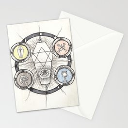 The Tarot Suits Alchemical Drawing Stationery Cards