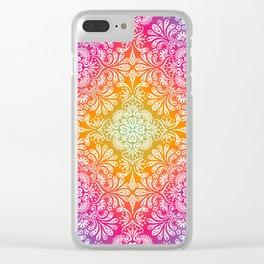 rainbow aura mandala Clear iPhone Case