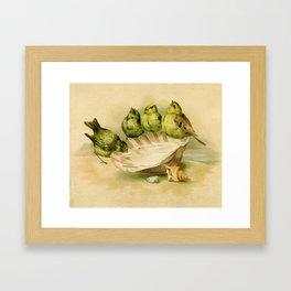 Vintage Yellow Birds on Seashell Framed Art Print