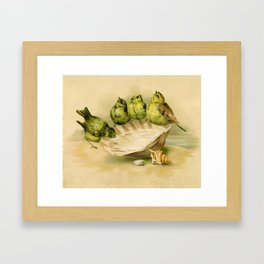 Vintage Yellow Birds on Seashell Framed Art Print