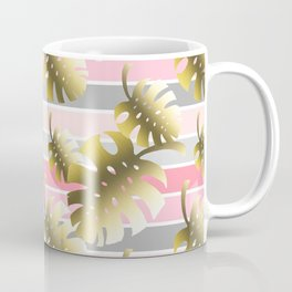 Tropical gold cheese leaves pastel color stripes Coffee Mug