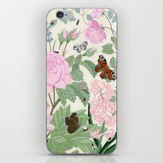 Pink flowers and butterflies iPhone & iPod Skin