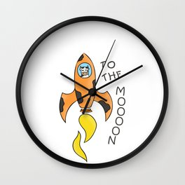 Hand Drawn Illustrations Cow Astronaut To the Moooon Gift Wall Clock