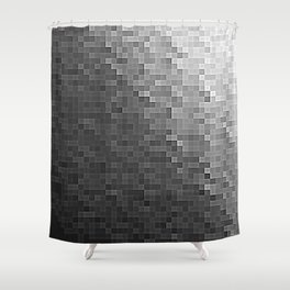 Gray Ombre Pixels Shower Curtain