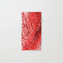 Monochrome  Leaf Arrangement (Red) Hand & Bath Towel