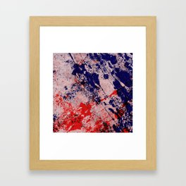 Hot And Cold - Textured Abstract In Blue, Red And Black Framed Art Print