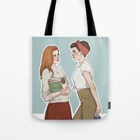lydia martin Tote Bags featuring Allison Argent/Lydia Martin 50's AU by vulcains