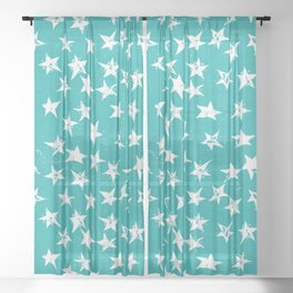Linocut Stars - Verdigris & White Sheer Curtain