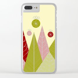 Trees and Ornaments Triangles and Circles Christmas Illustration Clear iPhone Case