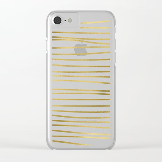 Small uneven gold stripes on clear white - horizontal pattern Clear iPhone Case