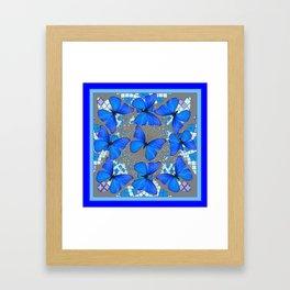Decorative Blue Shades Butterfly Grey Pattern Art Framed Art Print