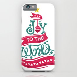 Joy to the World Christmas Quote Typography iPhone Case