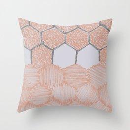 Honey Bee Hexagons – Uneven Edges Throw Pillow