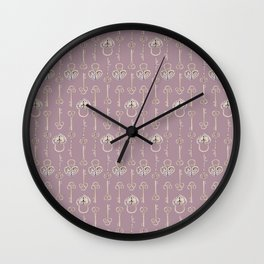 Purple mauve old padlocks and keys vintage style pattern Wall Clock