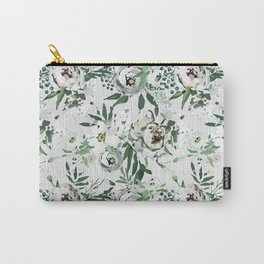 Green white blush pink watercolor geometrical floral Carry-All Pouch