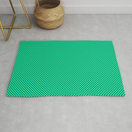 Cyan and dark green squares Rug