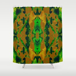 Green Rain on Green, Black and Shades of Gold Shower Curtain