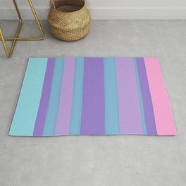 Blue Lilac and Pink stripes Rug