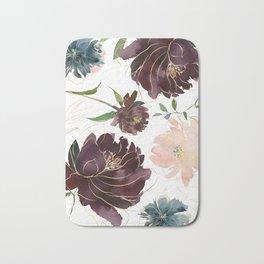 Chic Watercolor Flowers Bath Mat